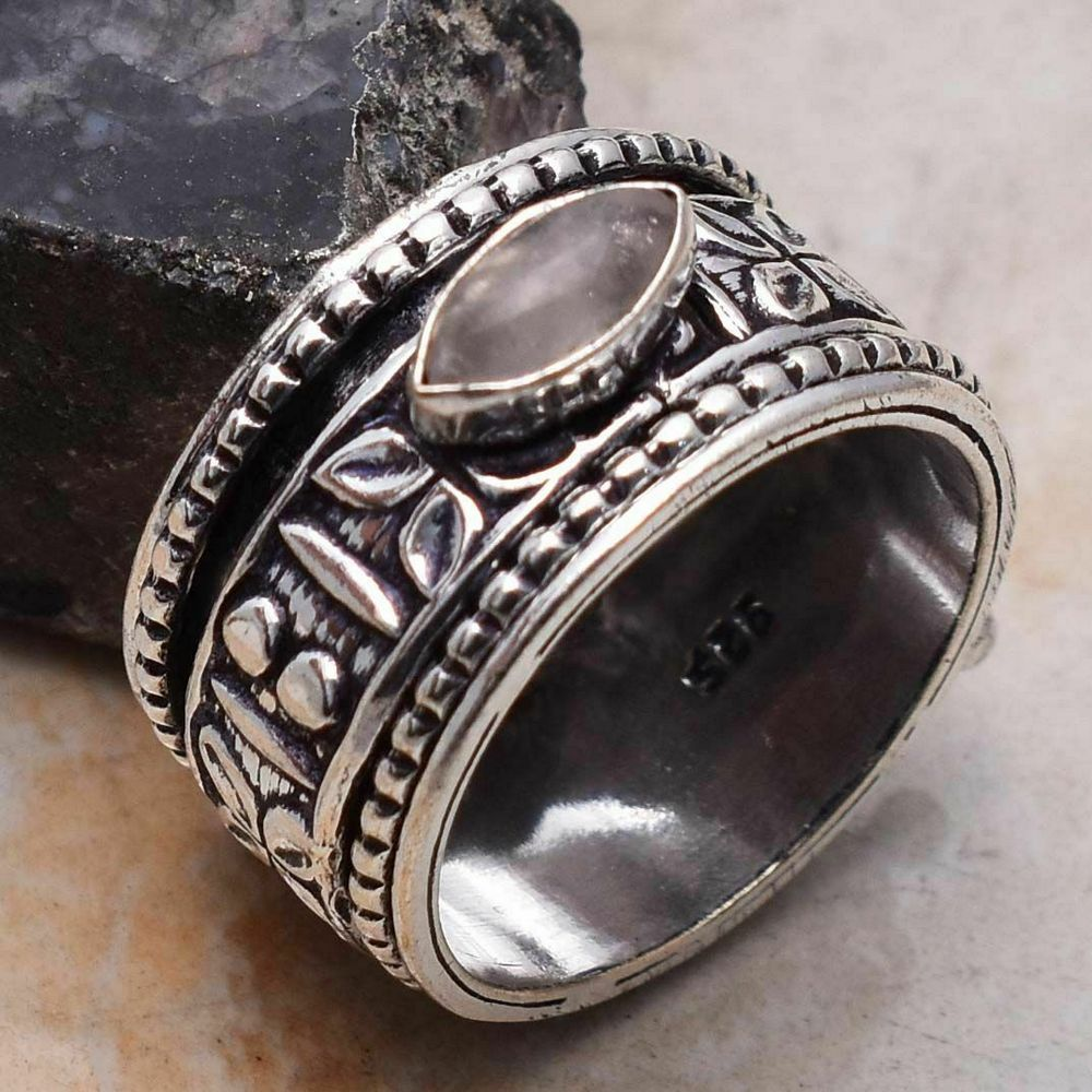 Ring - Silver Spinner with Rose Quartz Stone