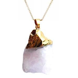 Pendant – Rock Crystal – Rose Quartz in Gold