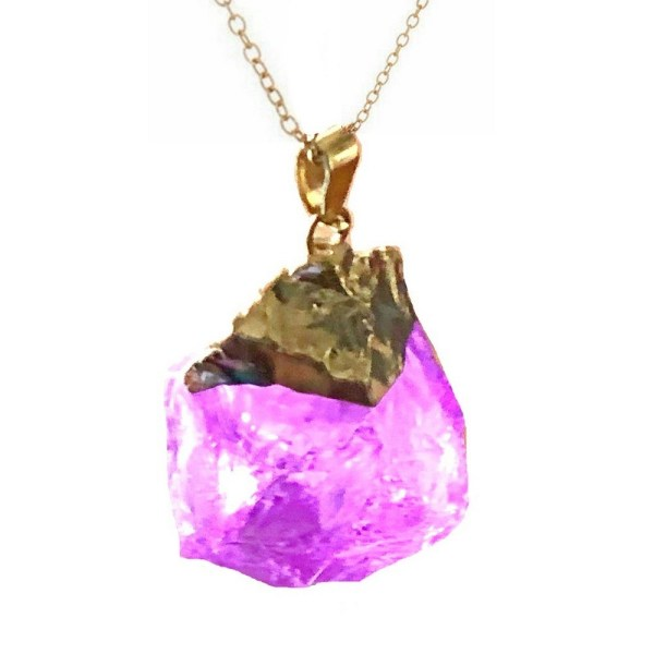 Pendant - Rock Crystal - Amethyst Quartz in Gold