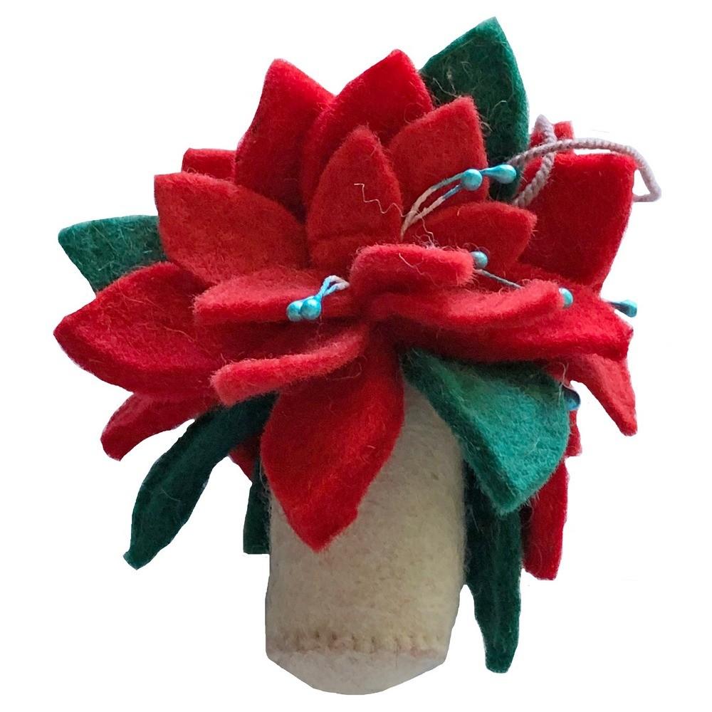 Poinsettia Felt Ornament