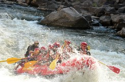 In the rapids.