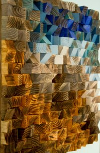 Large Wood wall Art, wood mosaic, geometric art, large art ...