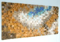 Large Wood wall Art, wood mosaic, geometric art, large art