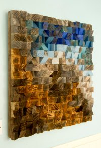 Large Wood wall Art, wood mosaic, geometric art, large art ...