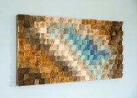 Modern Wood wall Art, wood mosaic, geometric art  Art Glamour