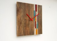 Reclaimed Wood wall Clock Modern, large wood clock with