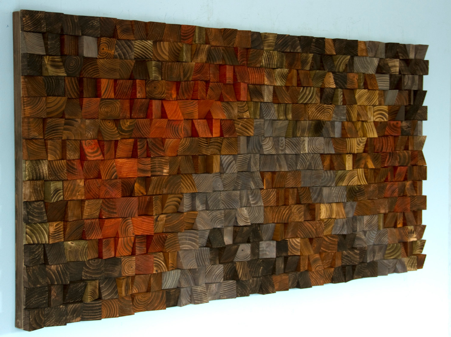 Rustic Wood Art, wood wall sculpture, abstract painting on