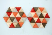 Wood Wall art geometric, hexagon, mid century wall art ...