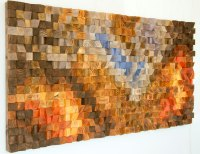 "Wood Wall Art, geometric wood art, mosaic, ""The Hell's"