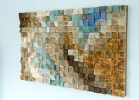Wood wall Art Mosaic, office wall decor, geometric art, 24
