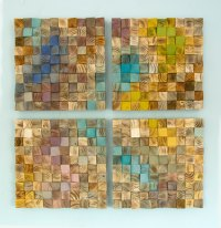 Wood Wall Art, mosaic wodd art, set of 4, geometric wall ...