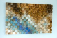"Wood wall Art, wood mosaic, geometric art, 24"" x 36"