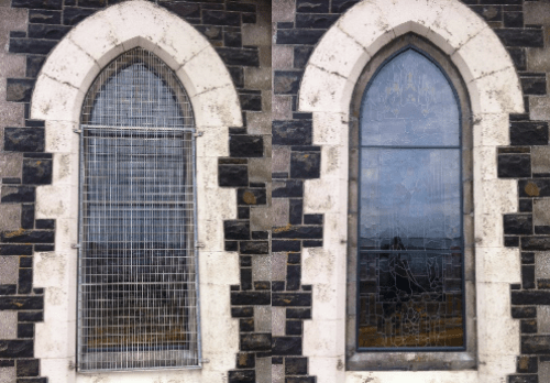Church glass protetive systems Laminated glass external glass storm glazing toughen glass aluminum frame Irish Stained glass Studio Stained Glass protective glass