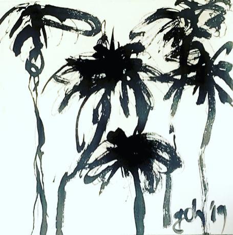 Palms 20x20 on wood