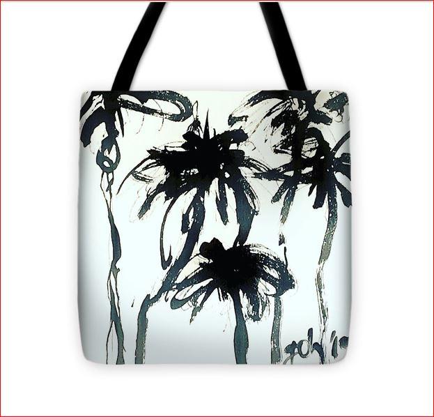 Palm tote bag schwarz weiß