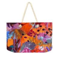A Tote bag with a printed painting on it