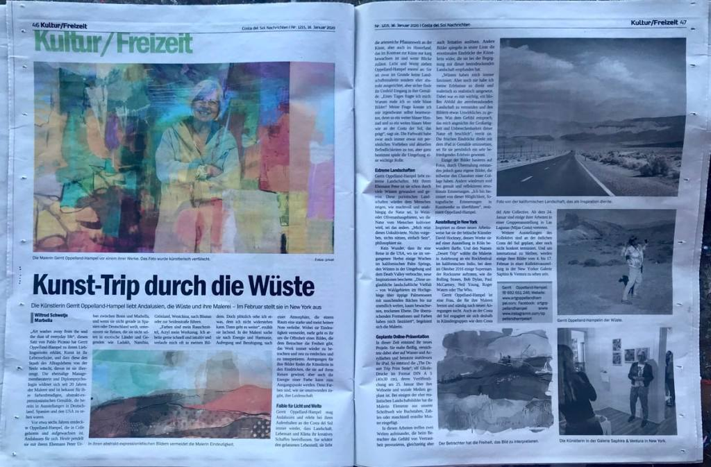 Two page feature about Gerrit Oppelland-Hampel and her Desert Trip Prints Project in the CSN