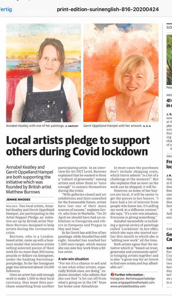 Press article about Gerrit Oppelland-Hampel and Annabel Keatley in the English SUR abot the two artists taking part in the Artist Support Pledge