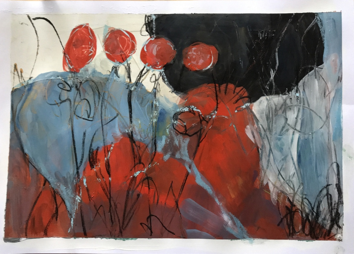 A red and gray painting under €