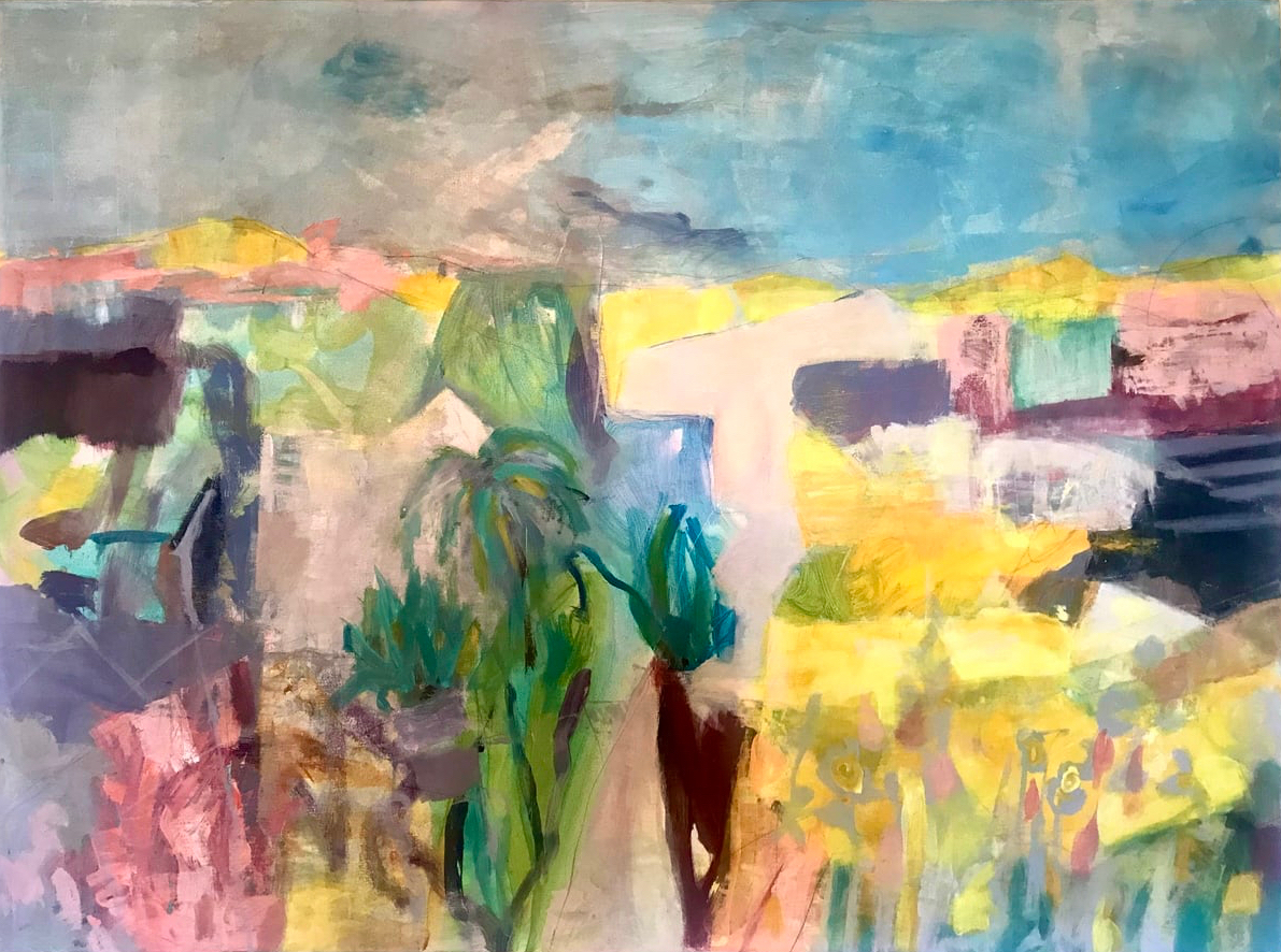 Abstract southern landscape with a shady and an sunny side