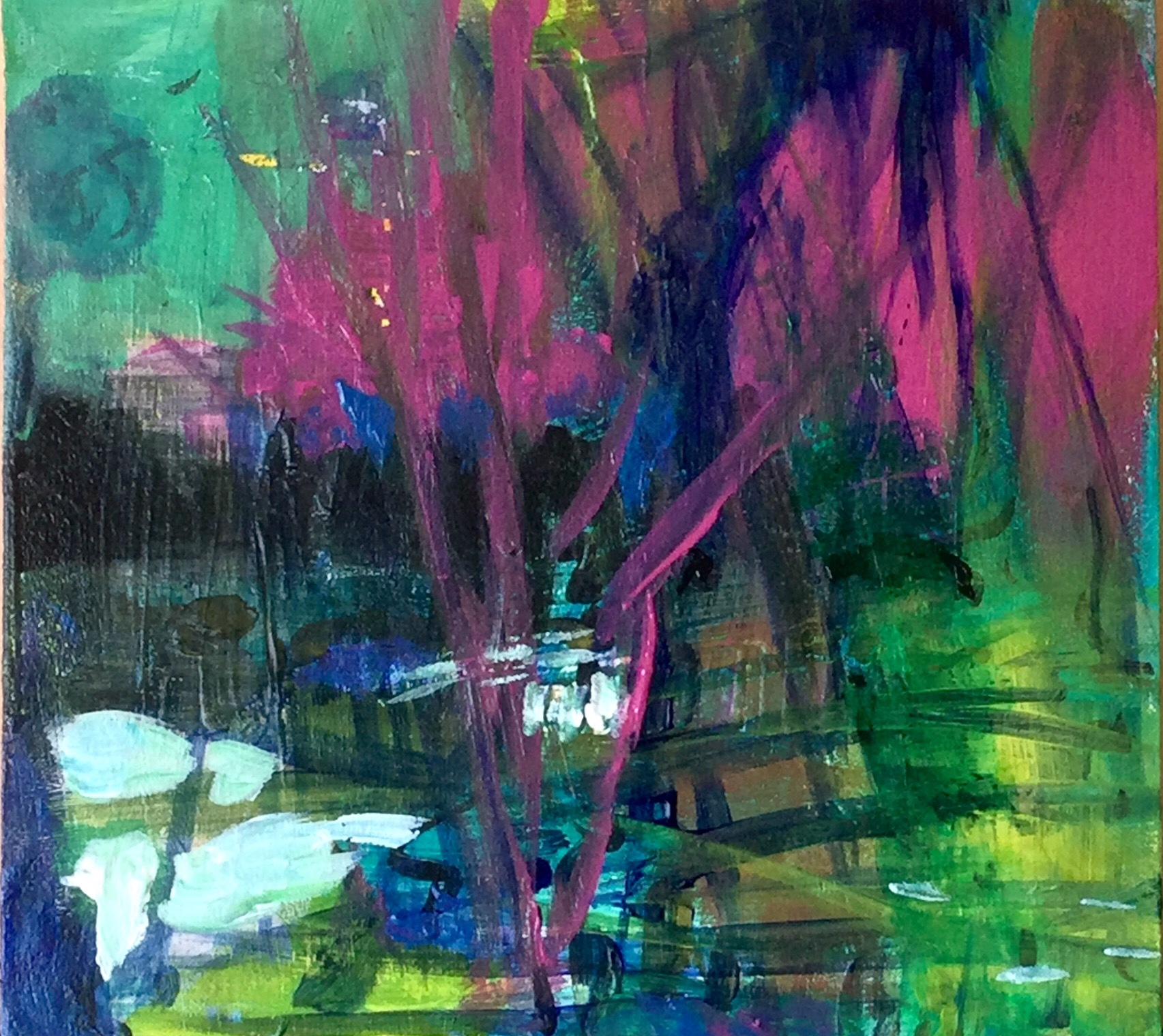 Small abstract painting with magenta wood like parts and a lot of green