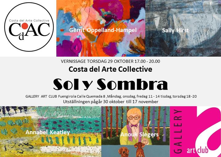 Ad for exhibition Sol y Sombra in Fuengirola Costa del Arte Collective