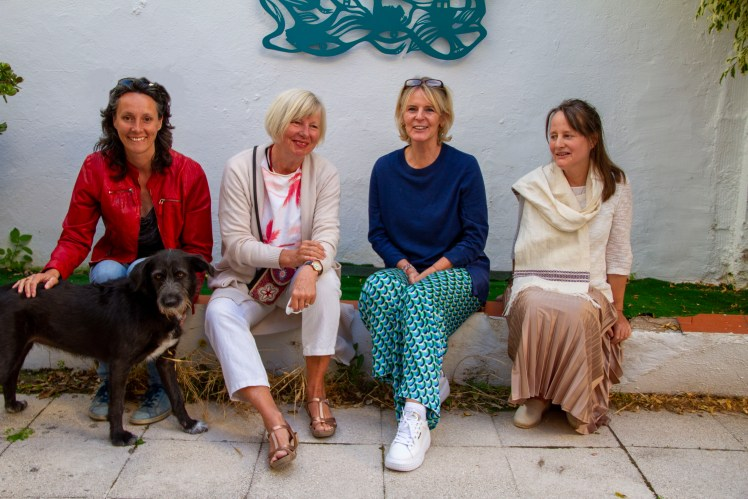 Incredible! The exhibition is open! 4 members of the Costa del Arte Collective with dog Dune