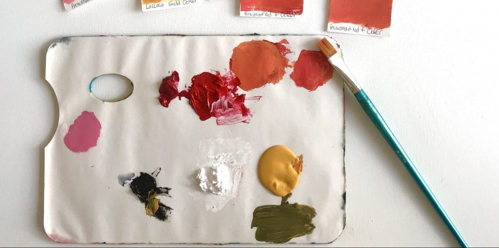 A palette with few colors of the Zorn palette start for the 100 day project