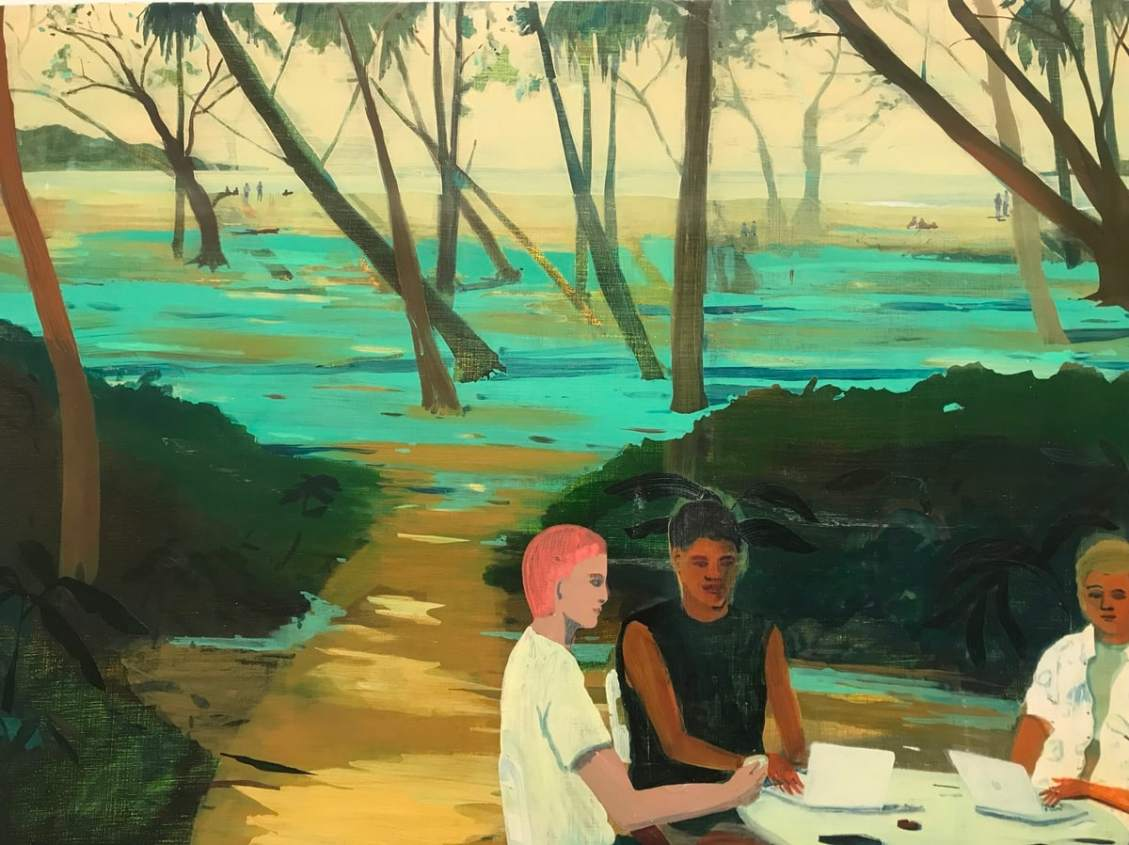 Snippet of a painting by Jules de Belincourt. Two young men sitting in a wood