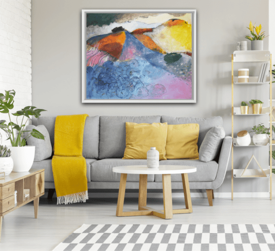 """Painting """"Crete"""" decorated above a sofa"""