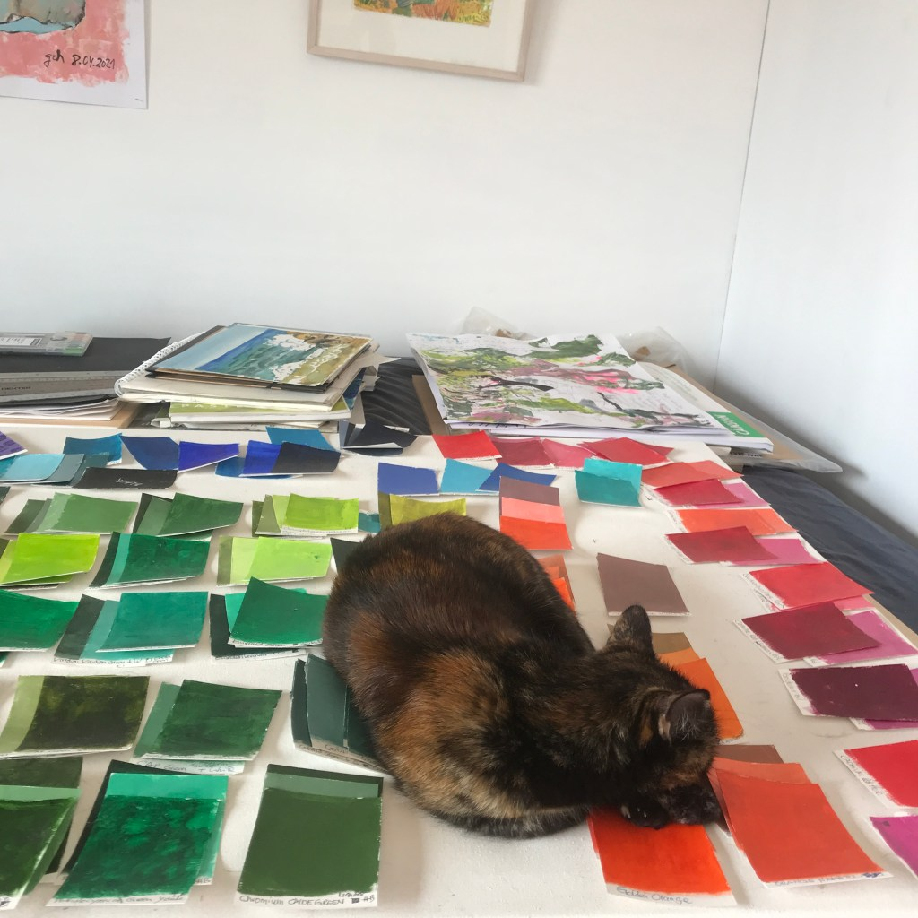 Cat sleeping on swatches of the 100 day project