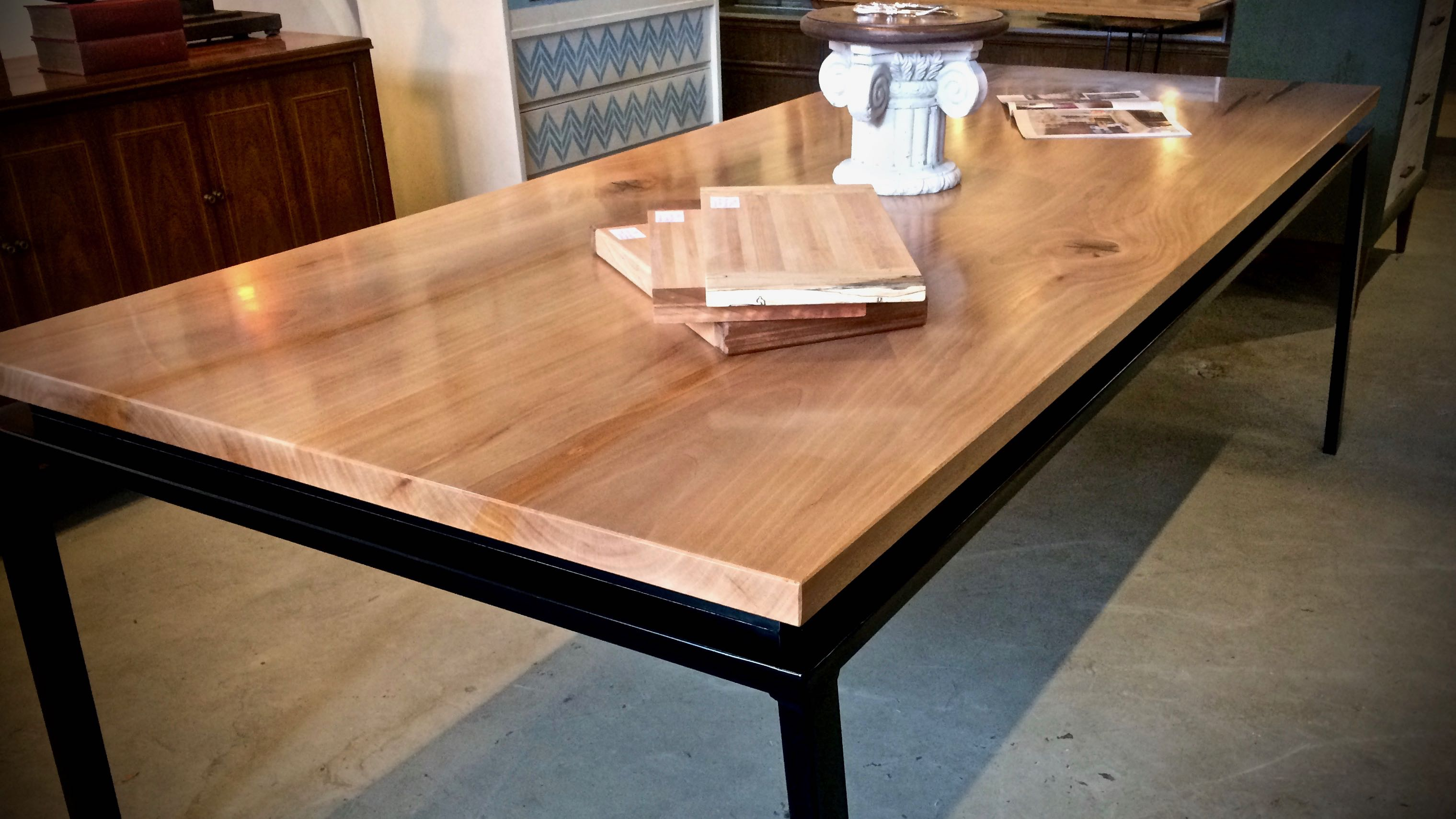 Handcrafted Metal Base with Wooden Top Table  ArtHaus150