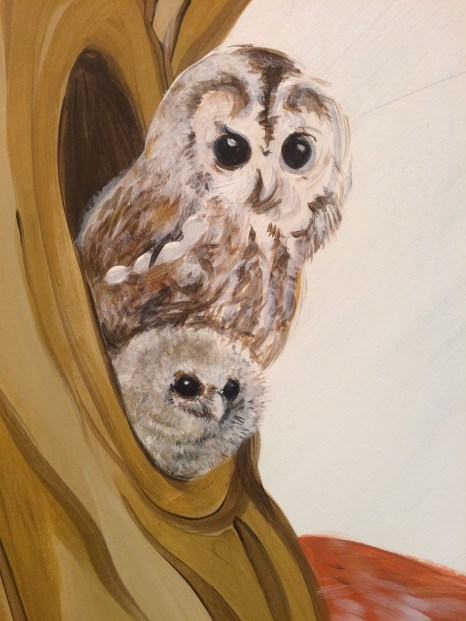And here, but still not happy with the shape of the owl's face