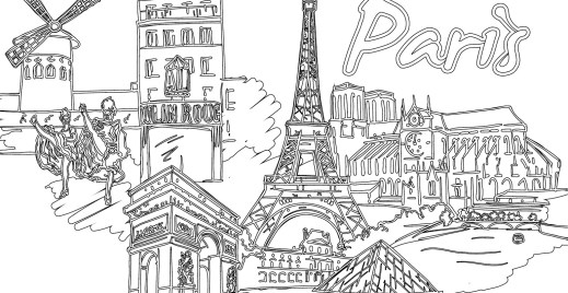 Coloriage gratuit ville Paris, 22 avril 2016