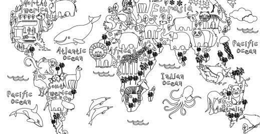 Coloriage gratuit, carte monde animaux
