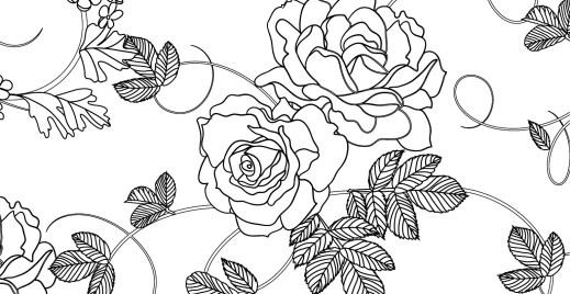 Coloriage gratuit, zendoodle roses sauvages