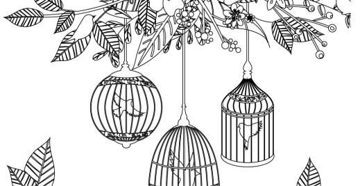 Coloriage gratuit, oiseaux en cage