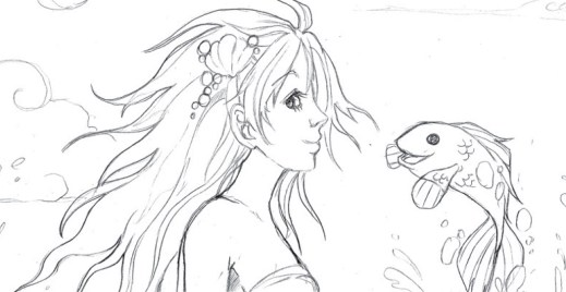 Coloriage gratuit par Dar-Chan, Ariel la petite sirène