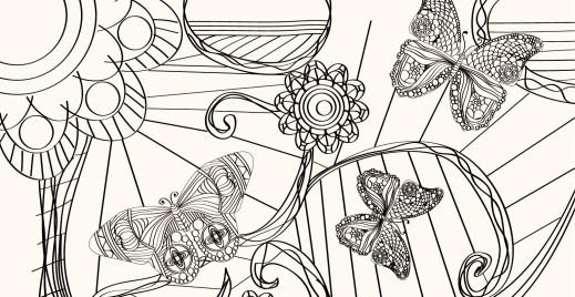 Coloriage gratuit, papillons au soleil