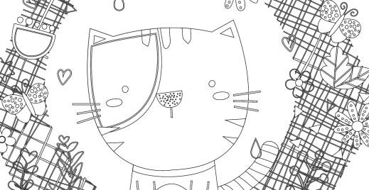 Coloriage gratuit, couronne du chat
