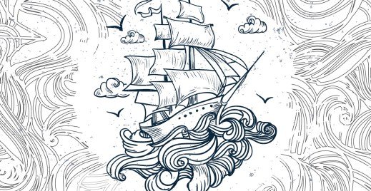 Coloriage gratuit, voilier dans tempête