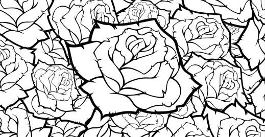 Coloriage gratuit, bouquet de roses