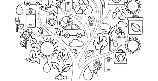 Coloriage gratuit, arbre recyclage