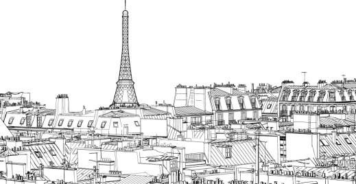 Coloriage gratuit, vu des toits de Paris