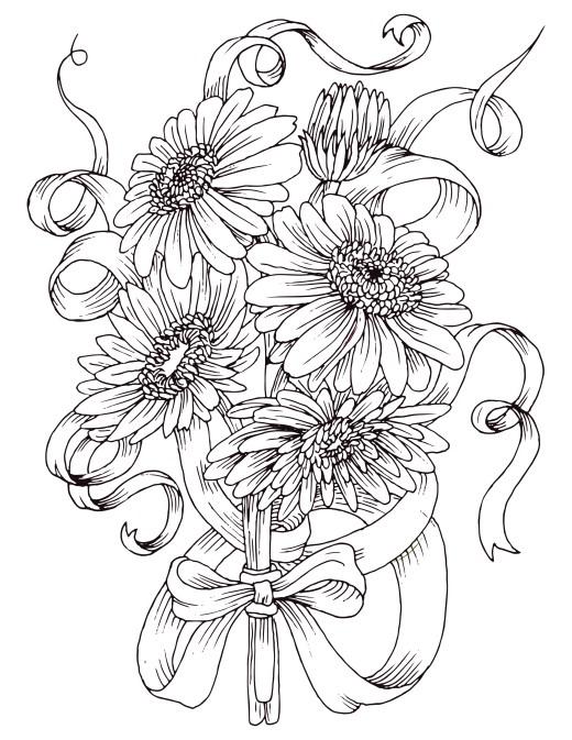 Coloriage gratuit, bouquet de fleurs marguerite