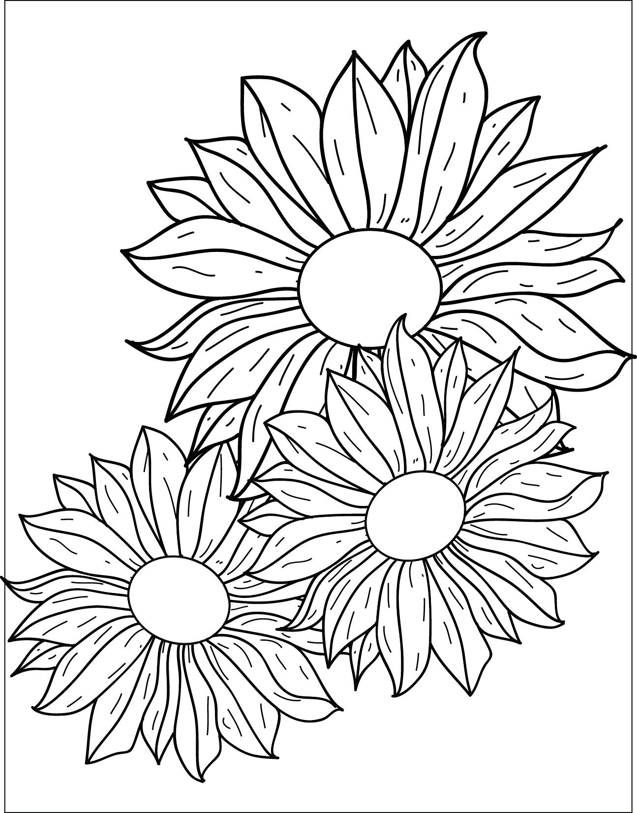 Coloriage gratuit fleurs marguerites - Fleur en coloriage ...