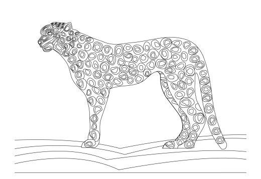 Coloriage félin, léopard en danger, gratuit