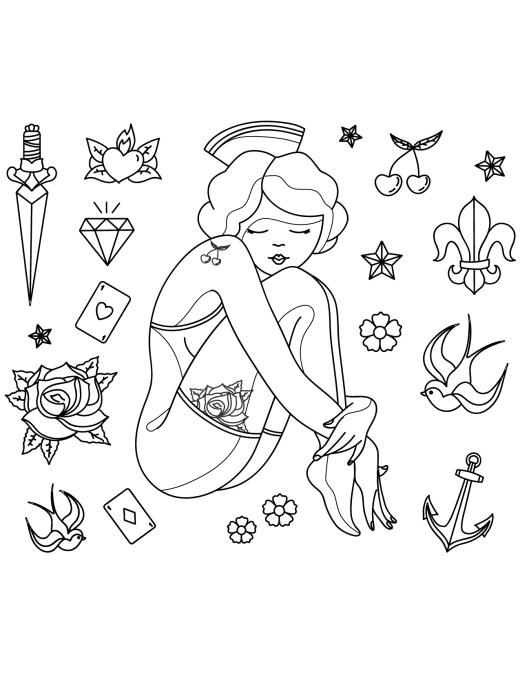 Coloriage tattoo gratuit, vintage pinup
