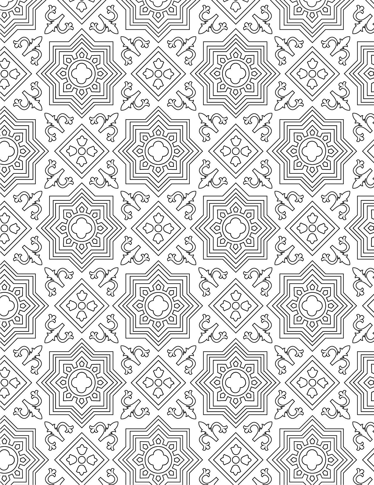 Imprimer coloriage gratuit motif mosaique - Artherapieca