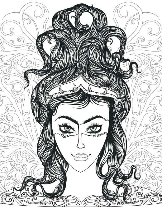 coloriage de coiffure cheveux démone